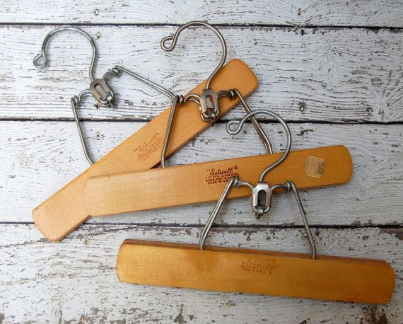 3 Vintage Wooden Pants Hangers Clamp Style The Setwell