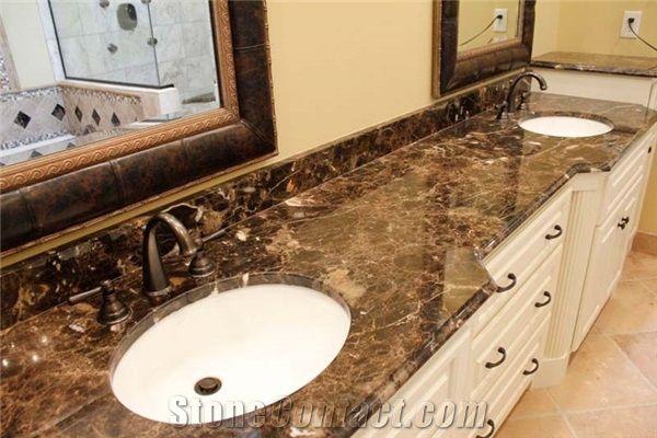 Dark Emperador Marble Vanity Top From United States 245370 Stonecontact Com Emperador Marble Marble Vanity Tops Marble Bathroom