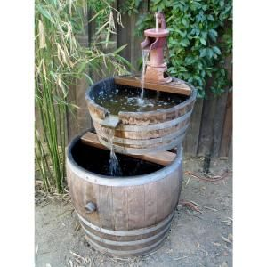 Master Garden Products Water Tight Oak Wood Tall Wine Barrel Planter Natural Wine Barrel Planter Barrel Planter Backyard Water Feature