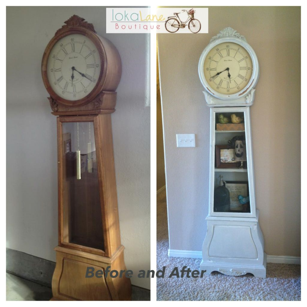 Before and after grandfather clock the pendulum was missing so i before and after grandfather clock the pendulum was missing so i added shelves instead of replacing it painted with homemade chalk paint cup baking soda amipublicfo Image collections