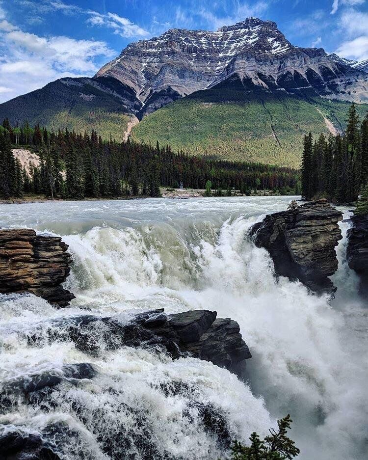 Feeling the mist from athabasca falls alberta canada oc