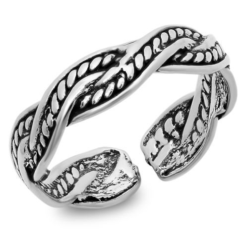 925-Sterling-Silver-Toe-Ring-Braid-Pattern-Adjustable-Size-Solid-Silver-4-5-mm