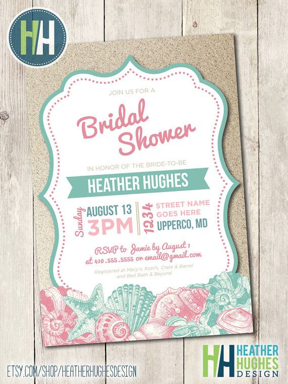 beach bridal shower invite printable beach invitation seashells