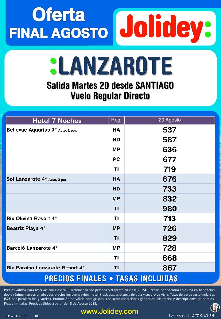 Oferta Final Agosto Lanzarote 7 Noches desde 537€ tax. incluidas. Salida dia 20 desde SCQ - http://zocotours.com/oferta-final-agosto-lanzarote-7-noches-desde-537e-tax-incluidas-salida-dia-20-desde-scq/