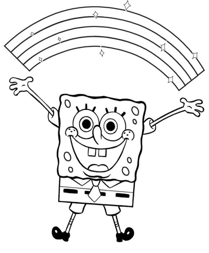 spongebob happy fun coloring page