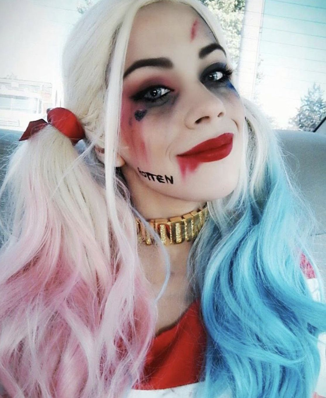 Photo of Harley Quinn cosplay realistic wigs, colorful pastel full lace front wigs, 24 in (60 cm), wavy long pink blue ombre HEAT SAFE