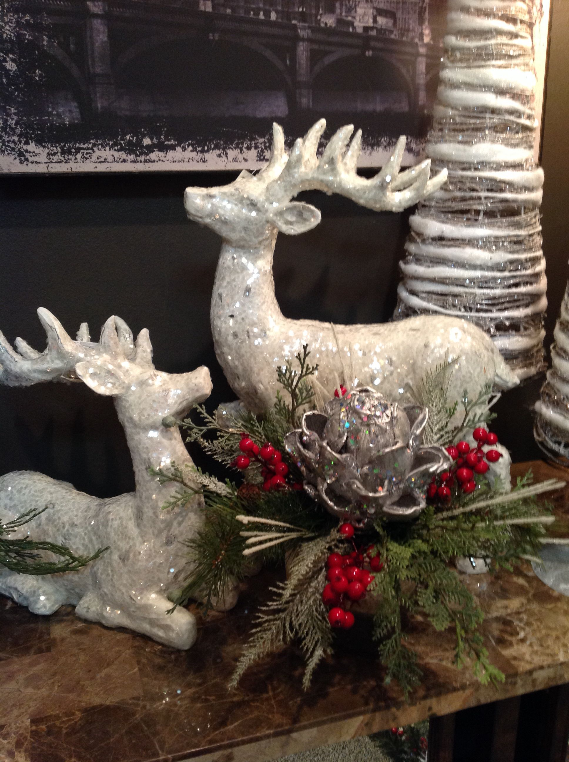 White Deers At Something Special Christmas Arrangements Christmas Decorations Christmas Deco