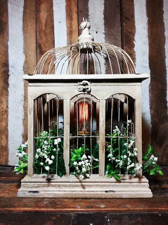 RESERVED! One-of-a-kind Upcycled Repurposed Birdcage Design Accent Lamp Light…