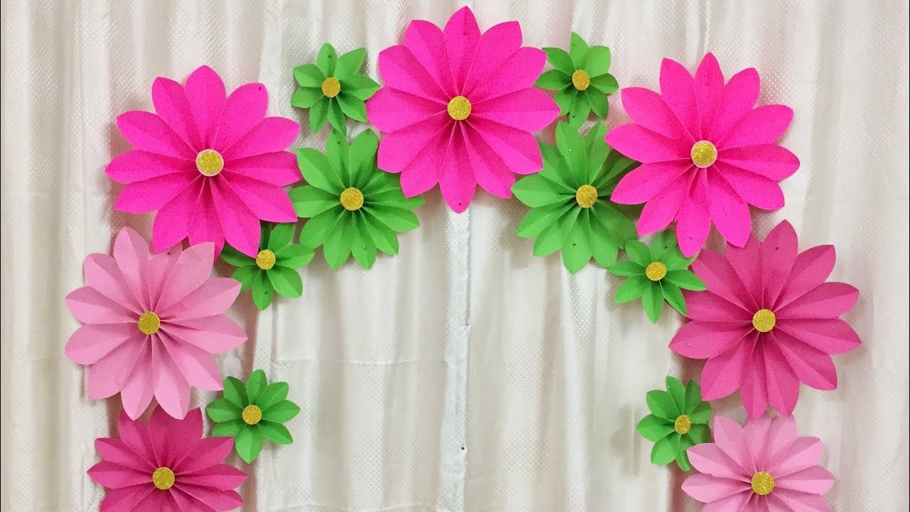 Very Easy Paper Flower Decoration At Home Decoration Ideas For Any Occasion At Home Youtube Flower Decorations Paper Flower Decor Paper Flowers