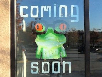 frog painted on glass window