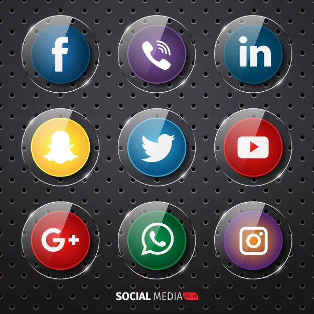 social media buttons collection free vector in 2019