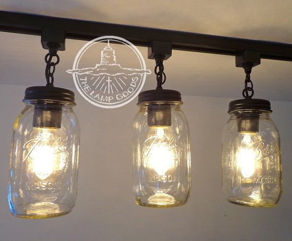 ceiling mount track lighting. Mason Jar TRACK LIGHT Trio NEW Quarts - Flush Mount Ceiling Lighting Fixture Farmhouse Chandelier Fan Track