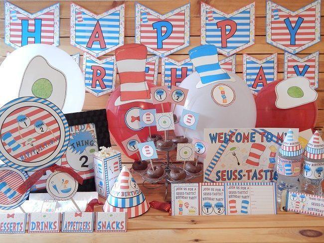 Seuss Inspired Printable Birthday Supply Pack.