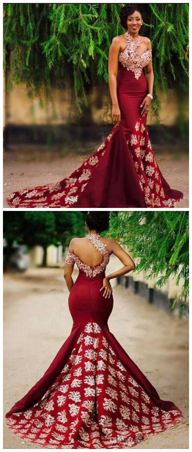 Unique burgundy high neck mermaid evening dresses single short