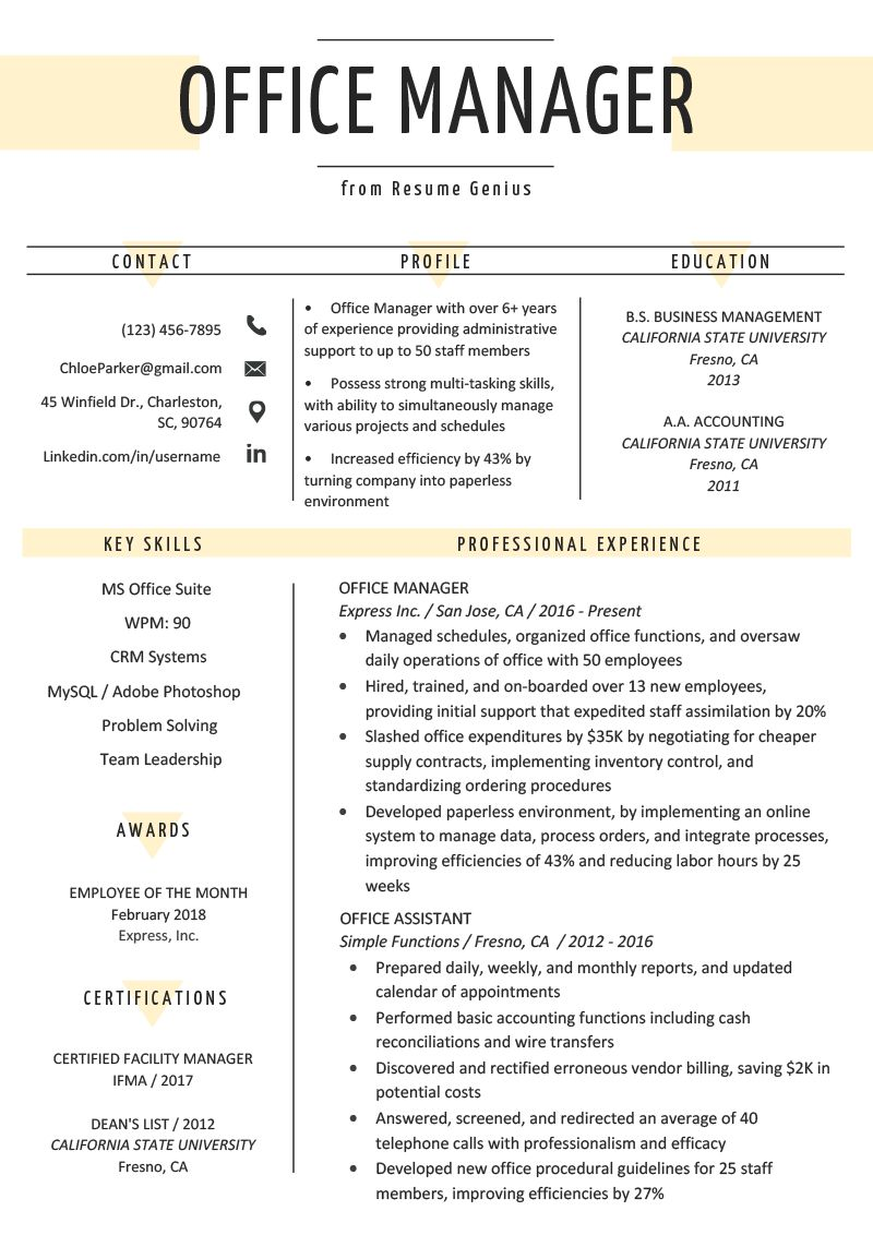 Resume Examples Office Office Manager Resume Sample Tips Resume Genius Wikiresume Com Office Manager Resume Job Resume Good Resume Examples