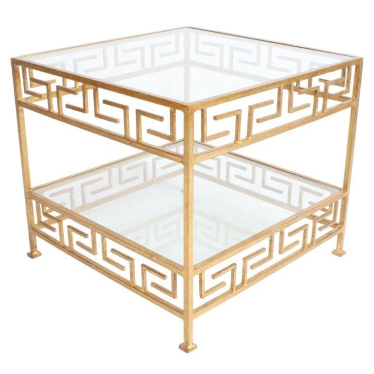 1940 S Pair Of Gilt Iron Greek Key Motif Side Tables Gold 1940s