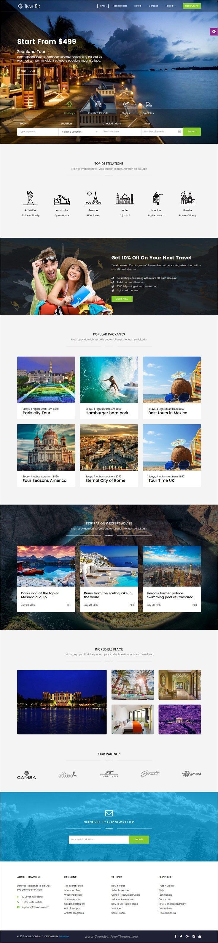 Os 150 Melhores Templates WordPress | Web Design | Travel