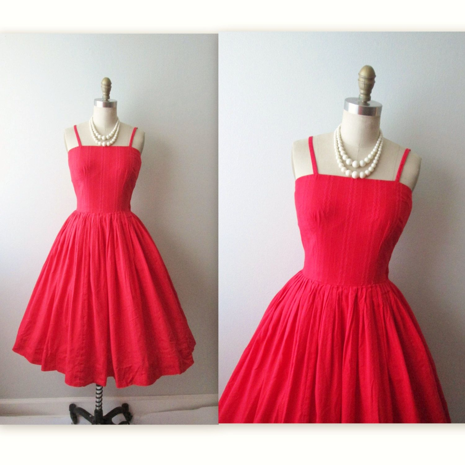 Reserved 50S Red Dress Vintage 1960S Cherry Red Cotton Valentines