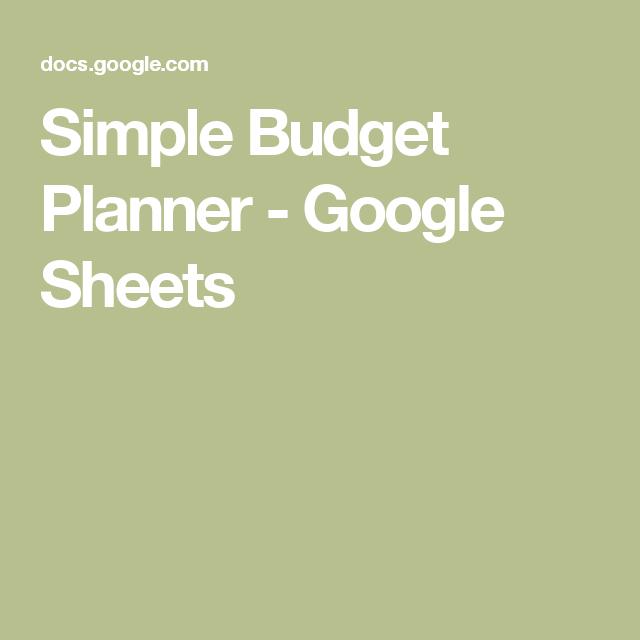 Simple Budget Planner  Google Sheets  Debt Finance