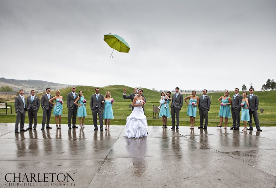 it's raining, it's pouring, the bridal party is definitely not snoring. Making lemonade from lemons in photography.