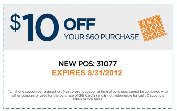 $10 off $60 at Rack Room Shoes coupon