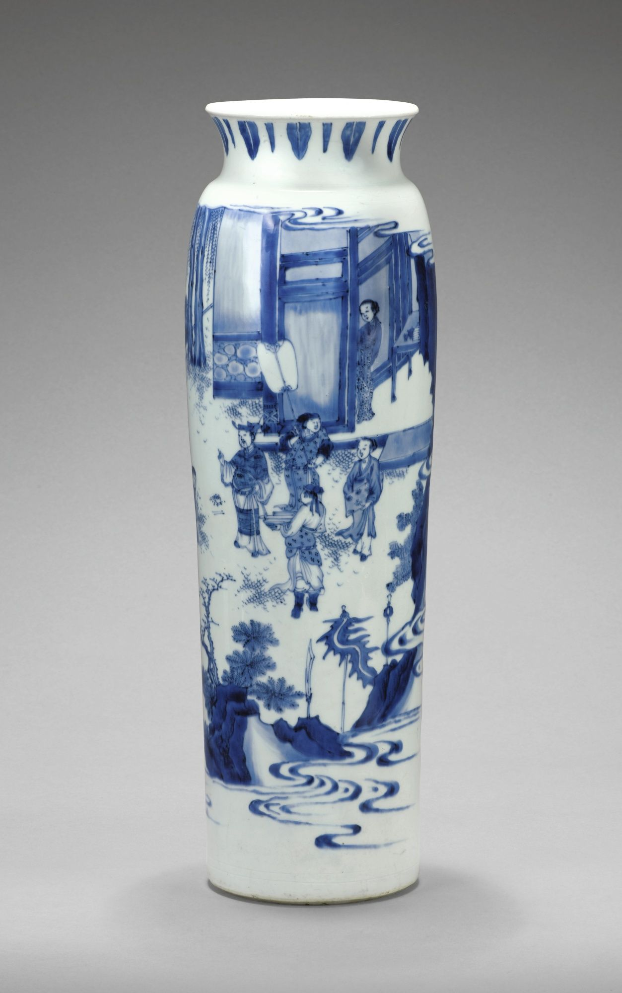 FINE AND LARGE BLUE AND WHITE SLEEVE VASE, TRANSITIONAL PERIOD, CA. 1640/1680