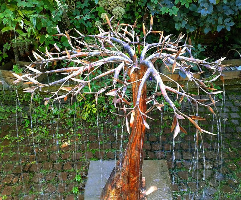 Copper Garden Sculpture | Copper Rain Tree Water Sculpture