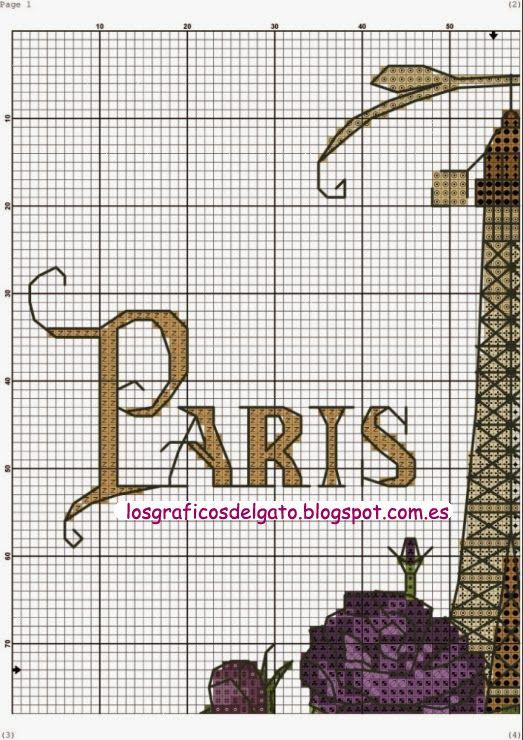 Bonito gráfico de la Torre Eiffel con flores.... | varios ...