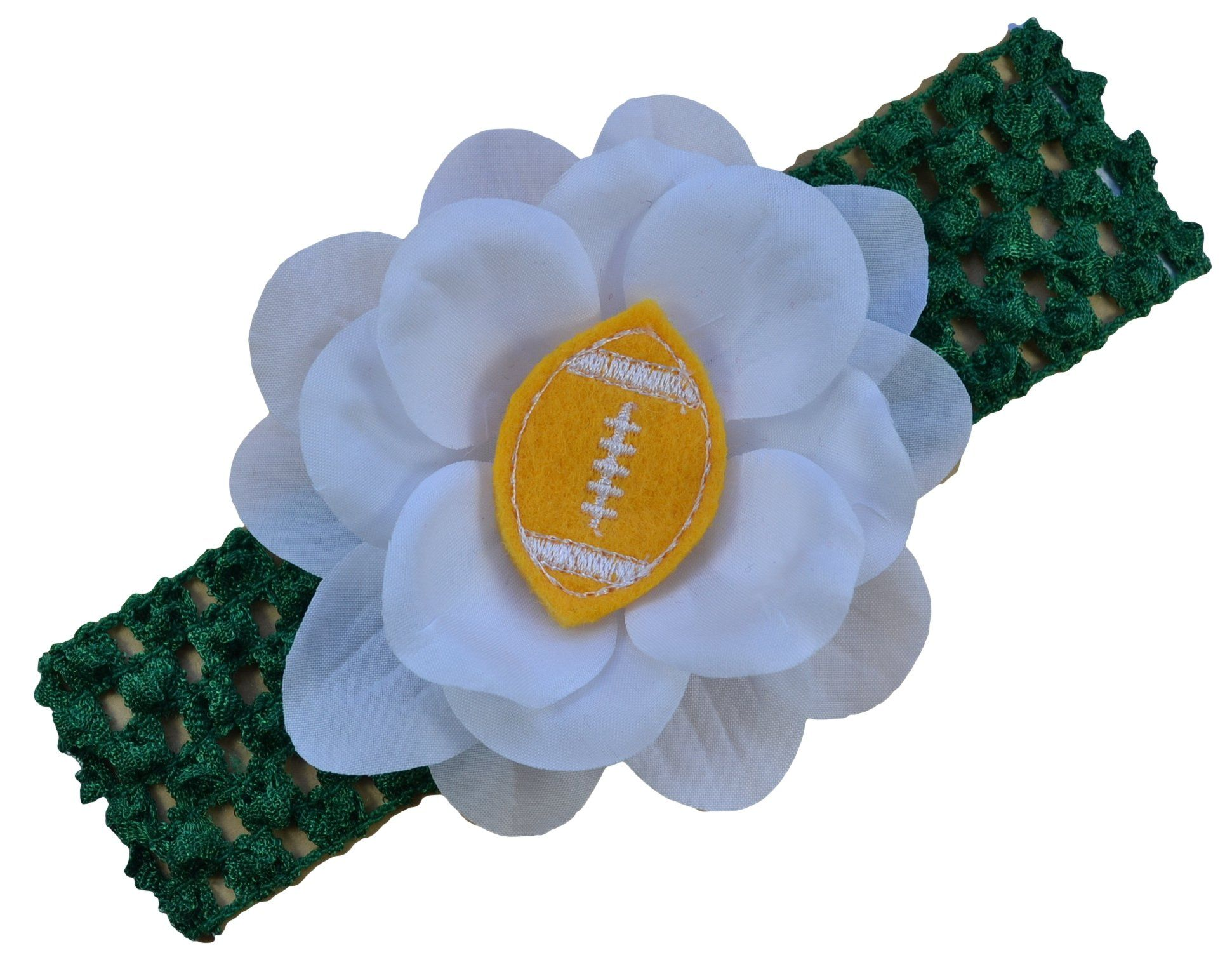 Baby Embroidered Felt Football Flower Headband (Kelly Green Band ...