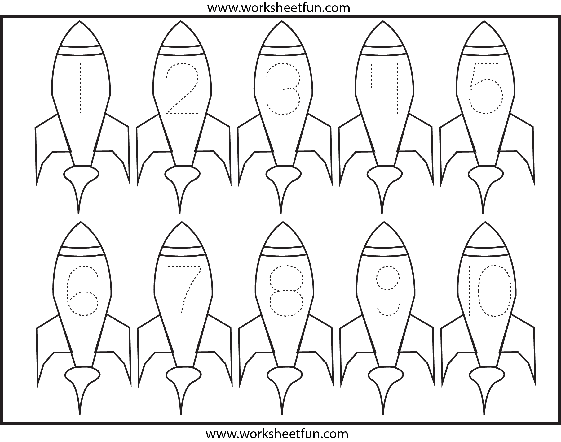 Rockets Number Tracing Space Preschool Theme