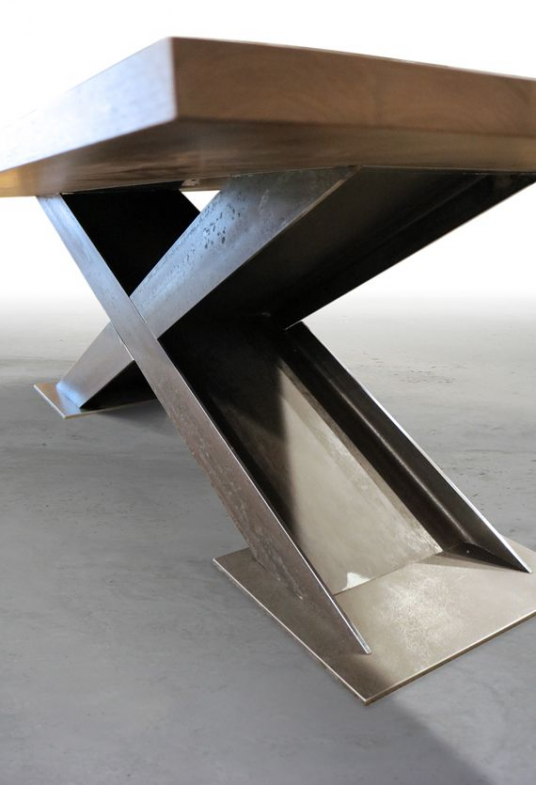 Brandner Design X I Beam Table Furnituredesigns In 2020 Steel Table Legs Metal Furniture Metal Table