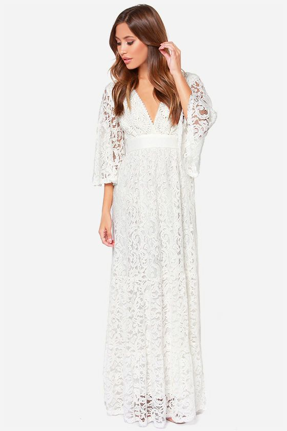Lace In The Flowers Ivory Maxi Dress At Lulus
