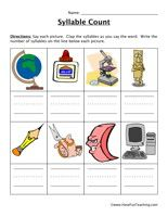Syllable Worksheet Say Each Picture Clap The Syllables As You Say The Word Write The Numbe Syllable Worksheet Have Fun Teaching Elementary School Activities