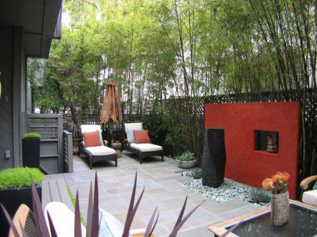 Sichtschutz Garten Selber Bauen Bambus Kamin Beton Pflastersteine
