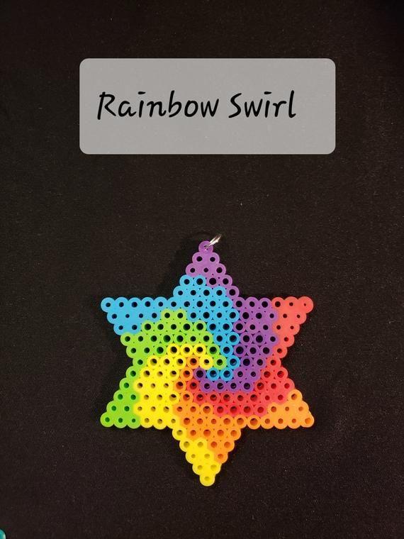 Star made with Perler Beads - #Beads #magnet #Perler #Star #beading