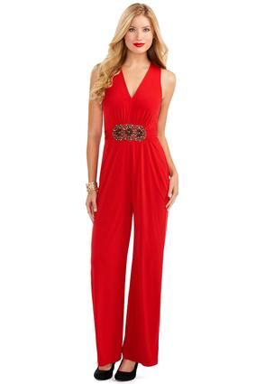 aa49c5bc6d Perfect for Christmas! Cato Fashions Red Hot Embellished Jumpsuit   CatoFashions