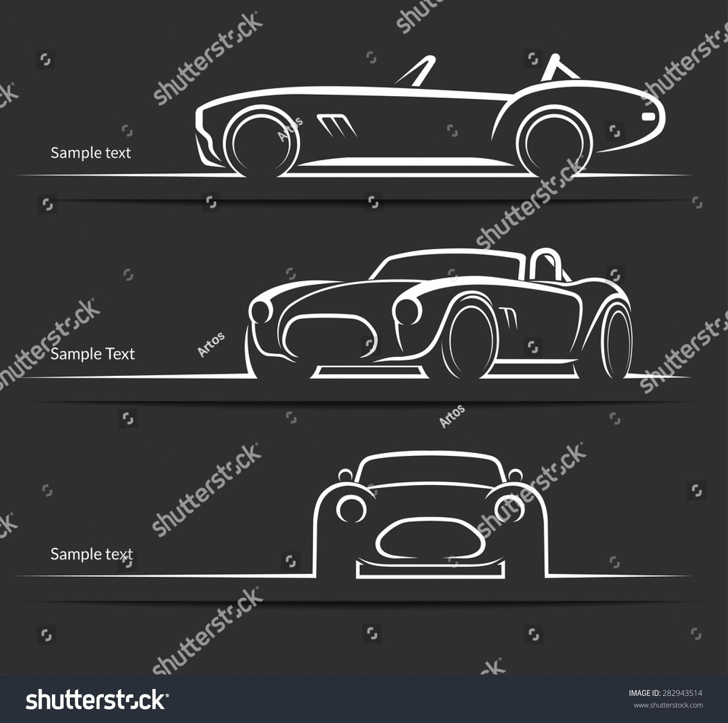 Set Of Vintage Classic Sports Car Silhouettes Outlines Contours Isolated On Dark Background Vector Illus Car Silhouette Classic Sports Cars Old Vintage Cars