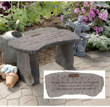 Stars Personalized Cast Stone Memorial Garden Bench Outside Pinterest Cast Stone Gardens