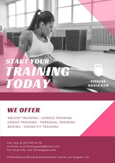 pink geometric shapes fitness photo overlay gym poster gym