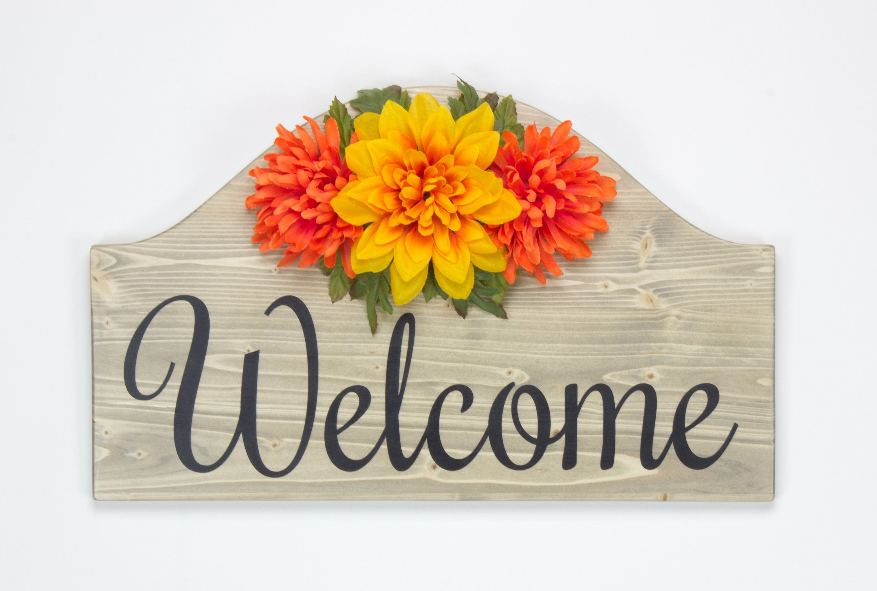 Welcome Wood Sign ~ Home Décor Wall Décor Entry Way Floral Décor ...