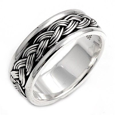 Handcast 925 Sterling Silver Irish Celtic Eternity Weave Ring