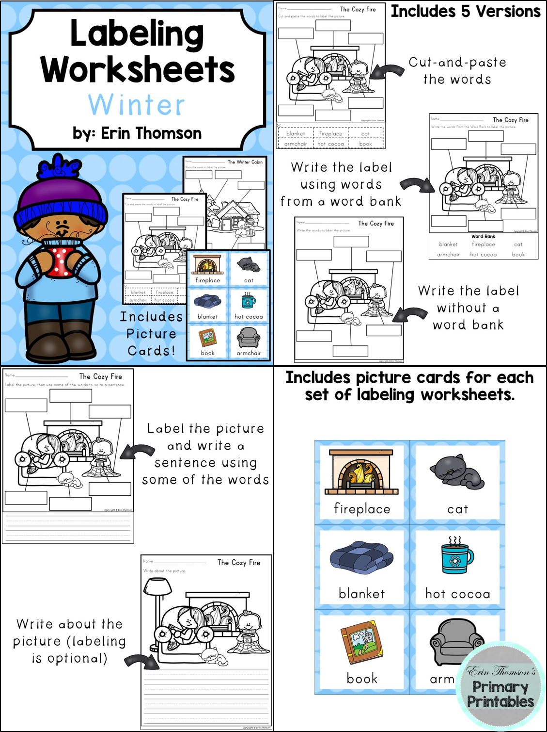 Labeling Worksheets And Writing Prompts Winter Themed