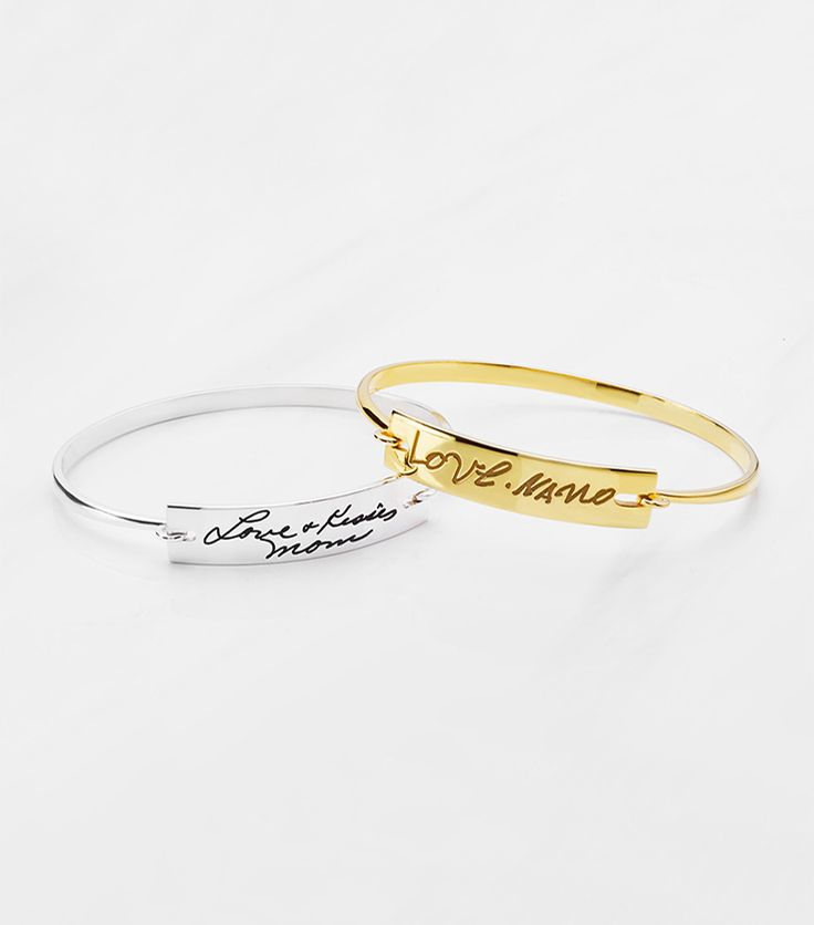 6953bcf23bfce Engraved Handwriting Bangle - Open Latch | Anniversary Gift Ideas ...