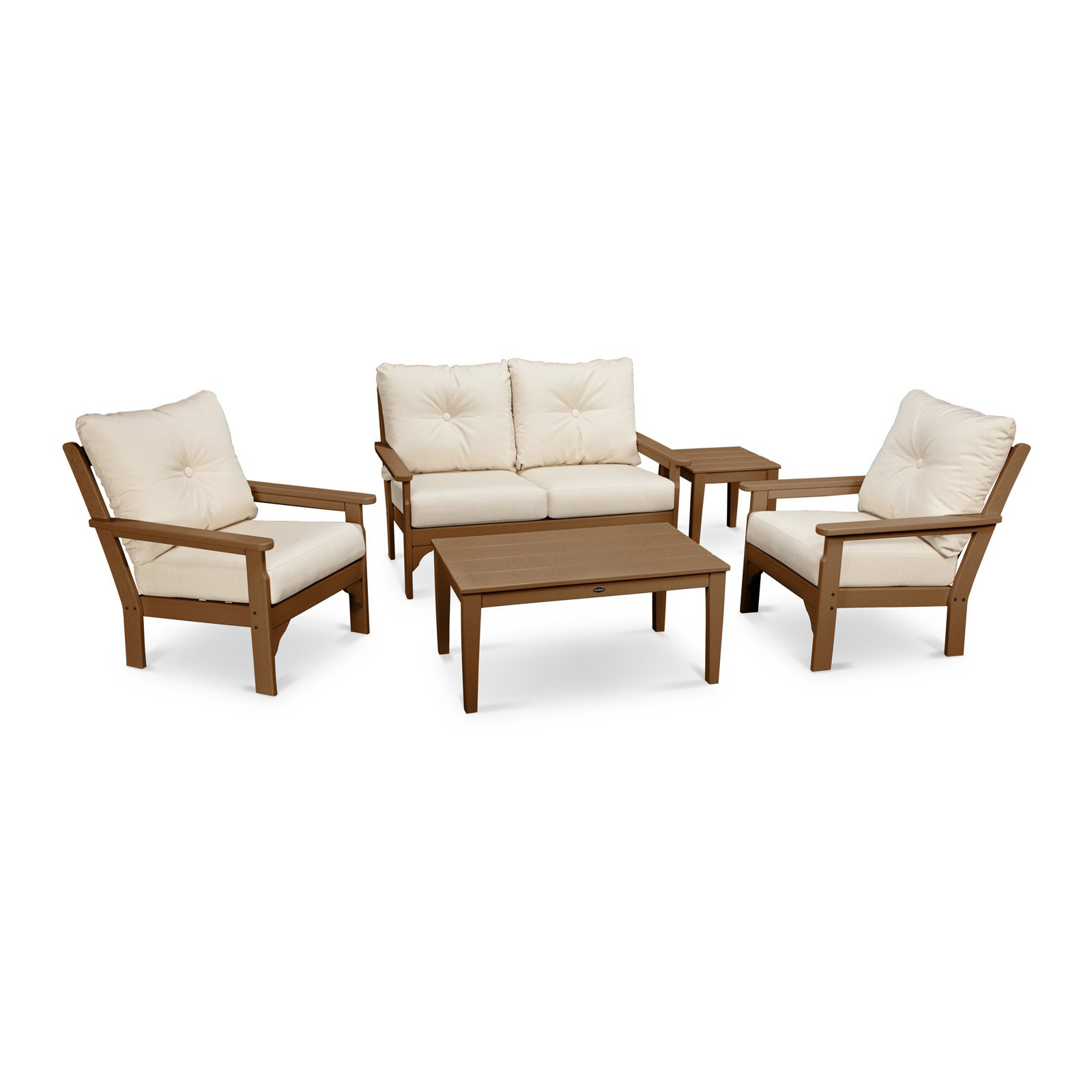 Outdoor PolywoodVineyard High Density Polyethylene 5 Piece Deep Seating Patio Conversation Set