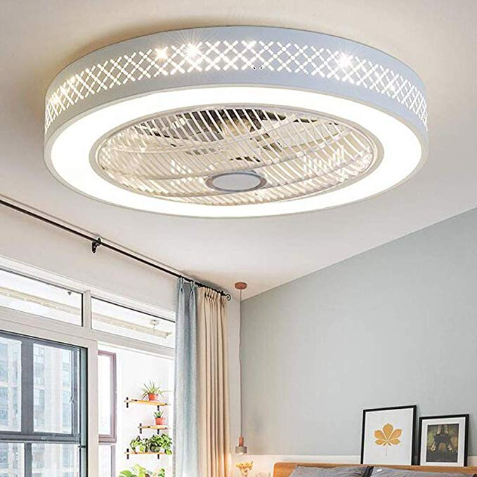 Amazon Com Ceiling Fan With Lights Invisible Acrylic Blade Metal Shell Ceiling Light Fan 55cm Led Remote Modern Ceiling Fan Ceiling Fan Ceiling Fan Bedroom