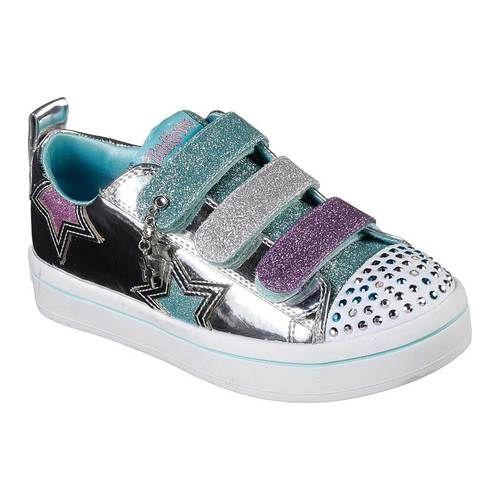 6a93232ea08fe Girls  Skechers Twinkle Toes Twi-Lites Twinkle Stars Sneaker - Silver Multi  Sneakers