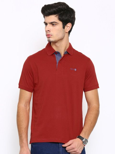 b1d28bc11af Buy Pepe Jeans Men Red Solid Polo Collar T Shirt - Tshirts for Men ...