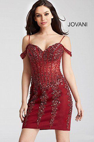 Burgundy Beaded Off The Shoulder Corset Bodice Short Dress 55226