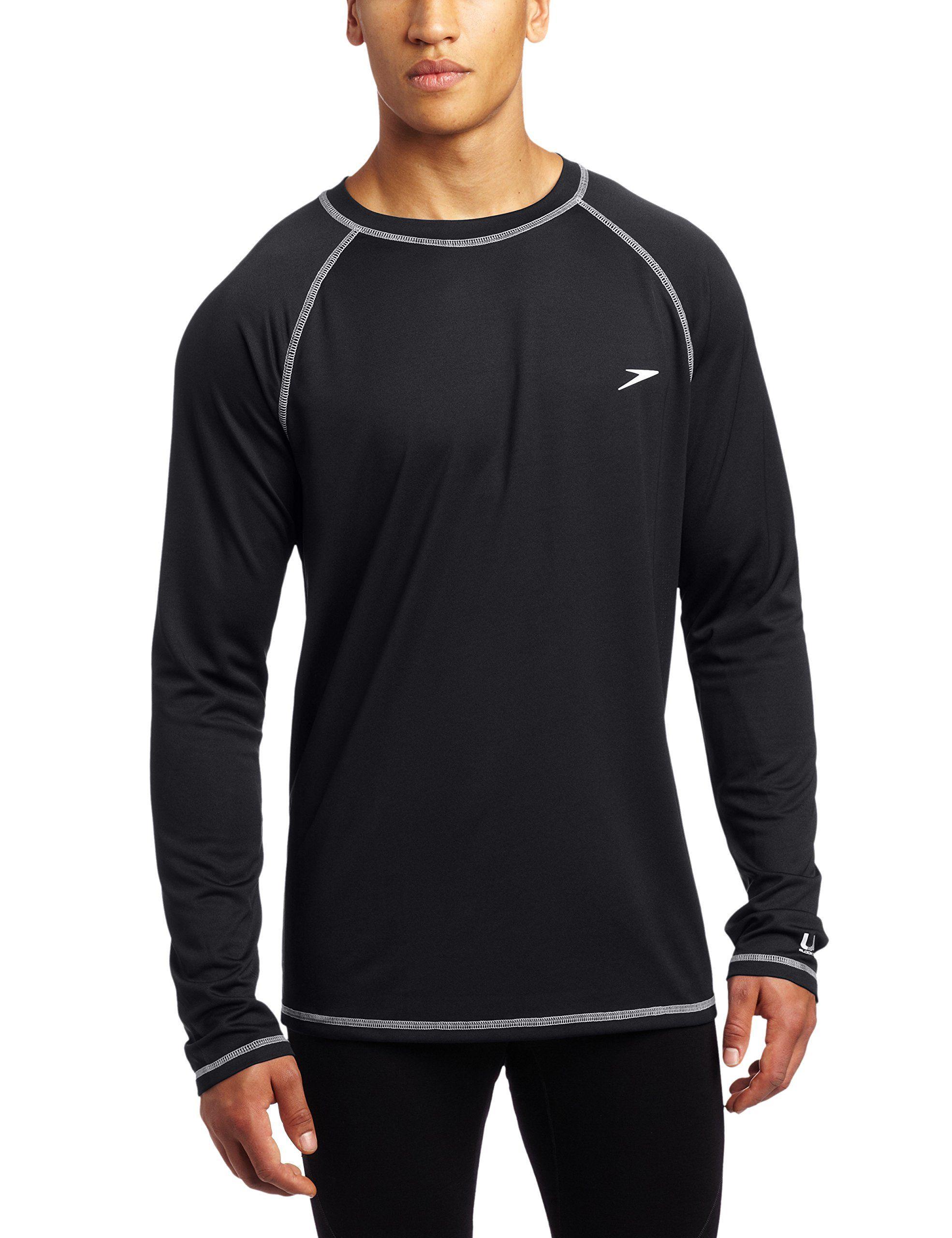 5a809a7dfb Speedo Men's UPF 50+ Easy Long Sleeve Rashguard Swim Tee,Black,X ...
