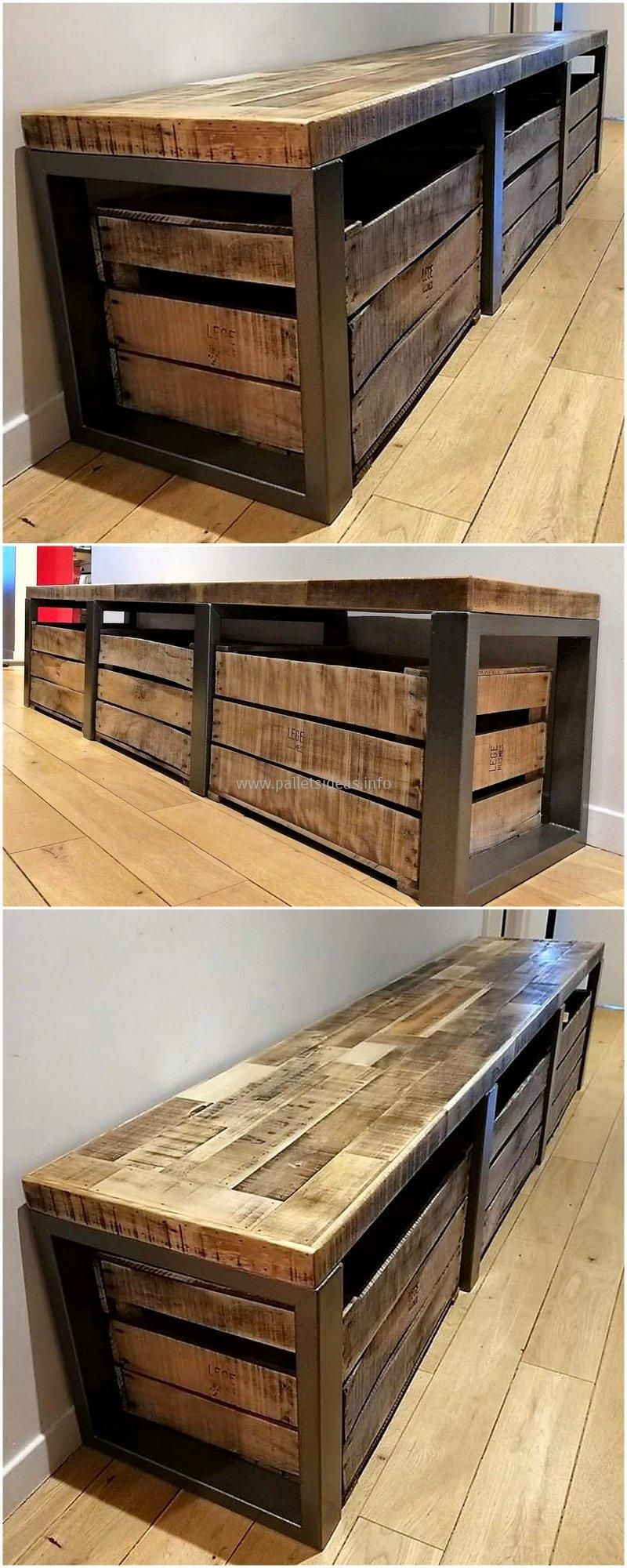 Things That Can Be Made With Used Wooden Pallets Diy Storage Bench Crate Bench Bench With Shoe Storage